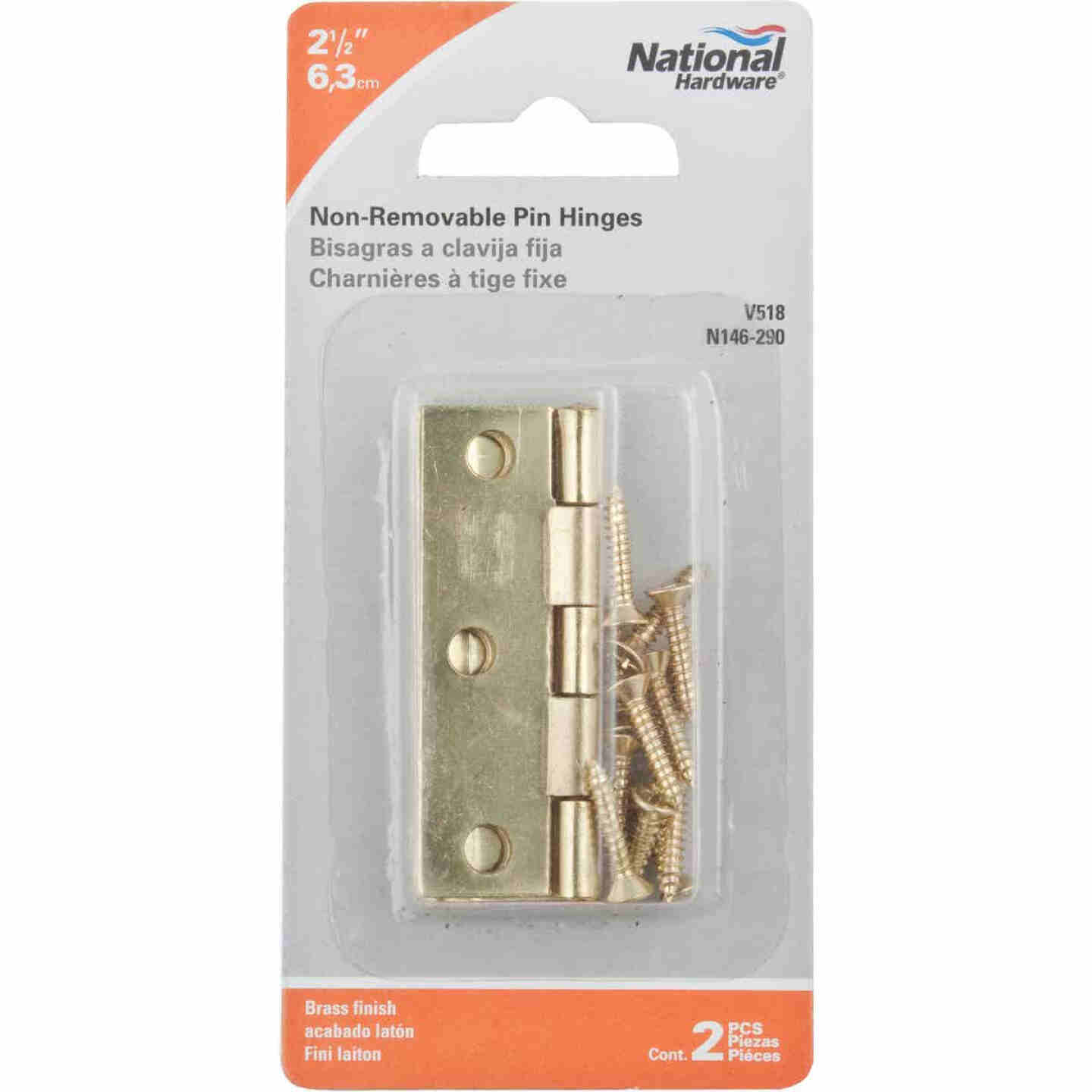 National 2-1/2 In. Brass Tight-Pin Narrow Hinge (2 Count) Image 2