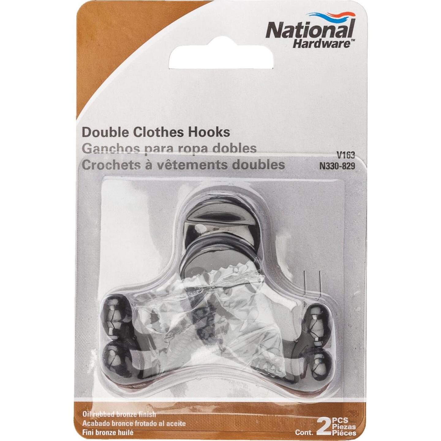 National Oil Rub Bronze Double Cloth Wardrobe Hook, 2 per Card Image 2