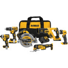 DeWalt 6-Tool 20V MAX XR Lithium-Ion Brushless Compact Drill/Driver, Impact Driver, Circular Saw, Reciprocating Saw, Oscillating Tool & Work Light Cordless Tool Combo Kit Image 1