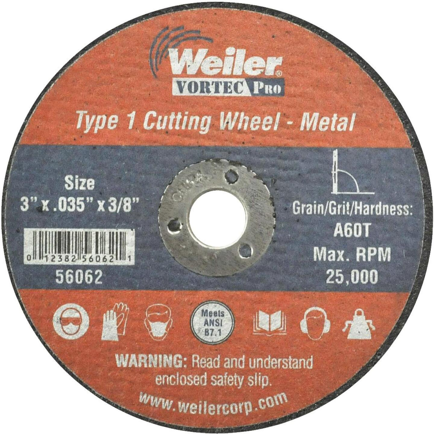 Weiler Vortec Type 1 3 In. x 1/32 In. x 3/8 In. Metal/Plastic Cut-Off Wheel Image 1