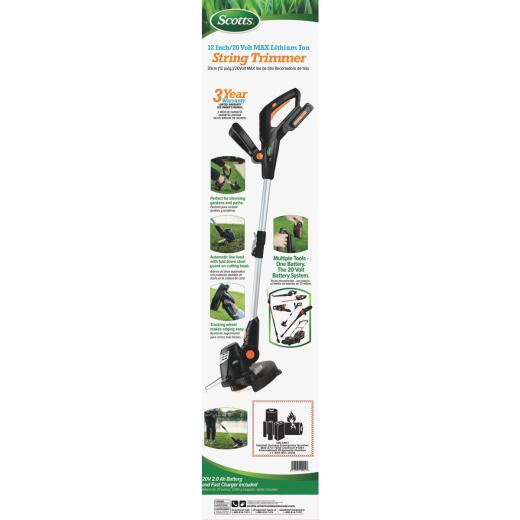 Scotts 10 In. 20 Volt Lithium Ion Cordless String Trimmer