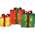 Product Works 12 In./10 In./8 In. Incandescent 3D Tinsel Presents Holiday Figure Image 1