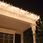 J Hofert Clear 100-Bulb Mini Incandescent Icicle Light Set with White Wire Image 3