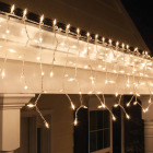 J Hofert Clear 100-Bulb Mini Incandescent Icicle Light Set with White Wire Image 4